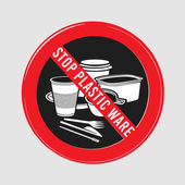 vector stop sign ban plastic dishes fork knife plate konteynet a cup of coffee and stick