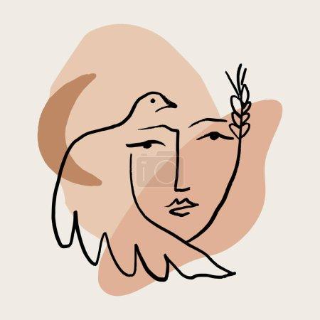 Illustration pour Ligne moderne minimaliste femme visage art design print. Illustration vectorielle - image libre de droit