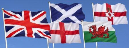 Photo pour Drapeaux du Royaume Uni de Grande Bretagne - Angleterre, Ecosse, pays de Galles, Irlande du Nord et le drapeau de l'union. - image libre de droit
