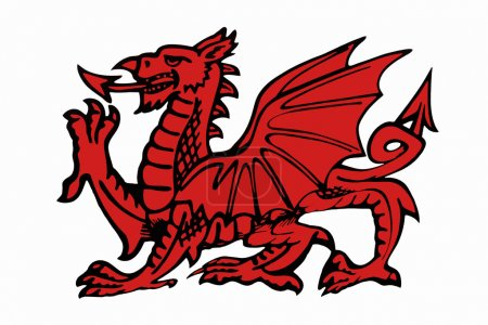 The red dragon of Wales - The Welsh Dragon appears...