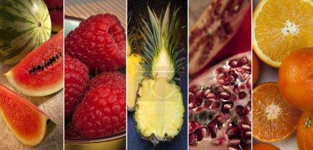 Foto de Una selección de fruta fresca - sandía, frambuesa, piña, Granada y naranja. - Imagen libre de derechos