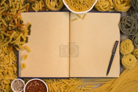 Photo for Italian Pasta - Blank Recipe Book pages with space for text - Royalty Free Image