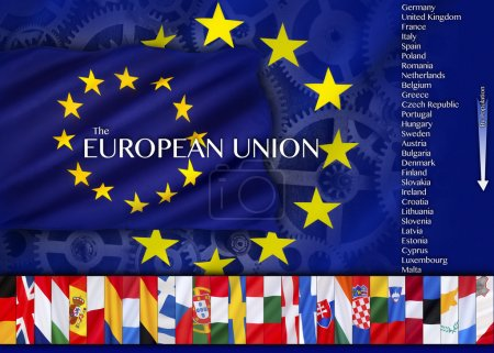 Photo for Trade and Industry and countries of the European Union - an economic and political association of 28 European countries as a unit with internal free trade and common external tariffs. - Royalty Free Image