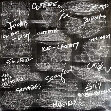 Photo for FOOD menu.Cuisine. Cooking. Dish. Collection of an hand drawing illustrations. Pack of full sized hand drawn illustrations. Set of freehand sketches. Line art technique. Drawing on black background. - Royalty Free Image