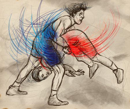 Greco-Roman Wrestling. An full sized hand drawn illustration