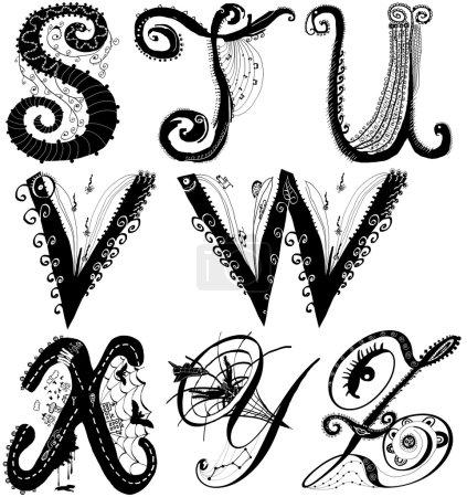 Photo pour Illustration dessinée à la main, paquet de lettres Alphabet bouclé ludique (de la même taille de lettres). Partie : S à Z (Isolé sur blanc ). - image libre de droit