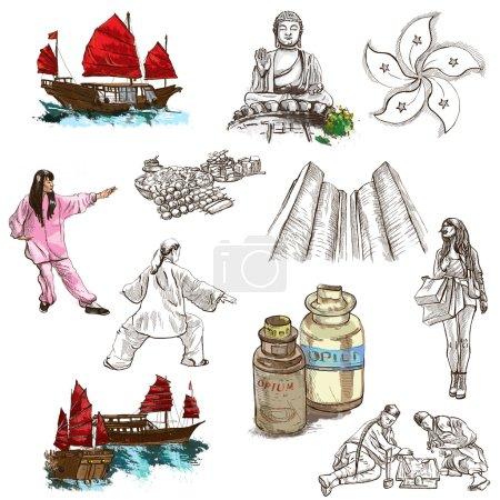 Hong Kong traveling - full sized hand drawn illustration no.3 on