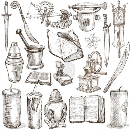 Foto de OBJECTS - Collection (no.3) of an hand drawn illustrations. Description: Full sized hand drawn illustrations drawing on white background. - Imagen libre de derechos