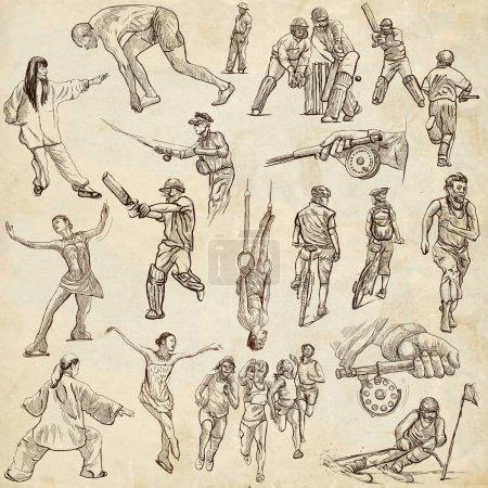 Sport - handgezeichnete Illustrationen in voller Größe
