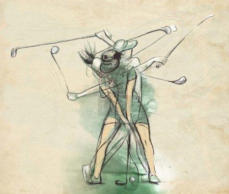 Photo pour Sujet : GOLF (Mouvement complexe). Une illustration pleine grandeur dessinée et peinte à la main (Original ). - image libre de droit