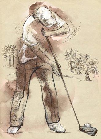 """Photo pour Sujet : GOLF (Trou de finition, """"18e trou""""). Une illustration pleine grandeur dessinée et peinte à la main (Original ). - image libre de droit"""
