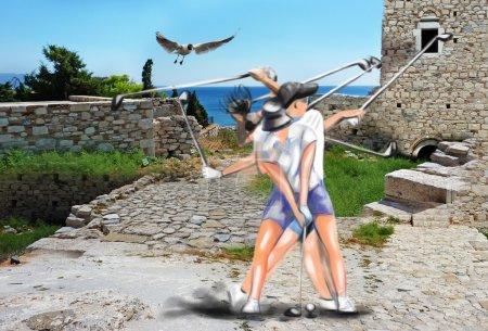 "complex ""matrix"" motion - hits golf ball"