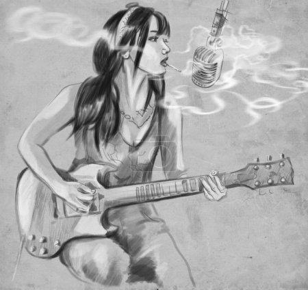 Smoking. Guitar player. An hand drawn full sized illustration.