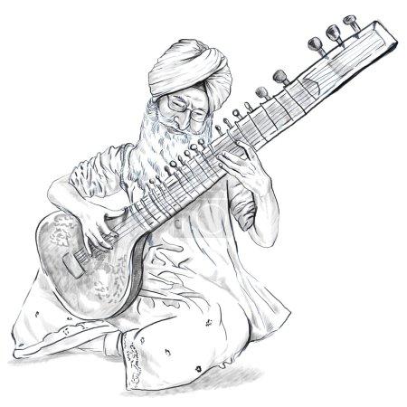 Tanpura player. Freehand sketch. Full sized, orignal.
