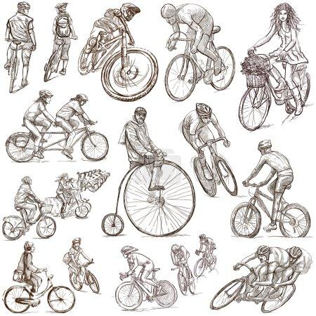 Foto de Ciclismo y Ciclistas - Colección de ilustraciones dibujadas a mano. Descripción - Ilustraciones dibujadas a mano de tamaño completo, bocetos a mano alzada, dibujo sobre fondo blanco. - Imagen libre de derechos