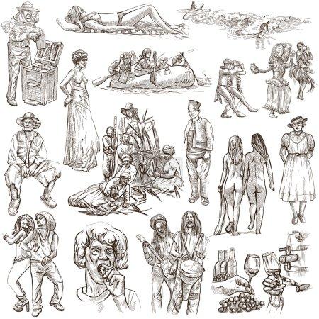 Photo pour United Colors of Human Race, Natives - Collection (no.17). Illustrations dessinées à la main. Description: Illustrations dessinées à la main de taille normale, esquisse à main levée. Dessin sur le fond blanc. - image libre de droit