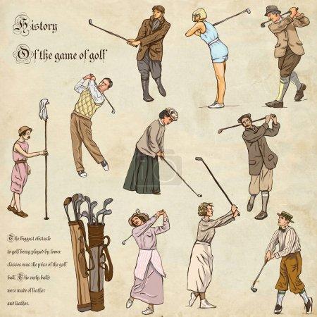Photo pour Vintage et rétro Golf, golfeur, Golf impact positions et équipement de Golf. Illustrations de collection d'une main pleine taille (à main levée, originaux). Dessins sur papier ancien. - image libre de droit