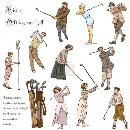 Golf and Golfers - Hand drawn vintage pack. Freehand sketching.