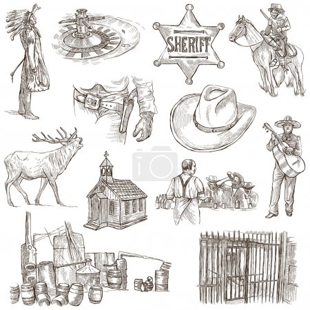 Photo for INDIANS and WILD WEST - Collection of an hand drawn illustrations. Description: Full sized hand drawn illustrations, original freehand sketches. Drawing on white background. - Royalty Free Image