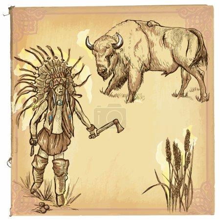 Illustration pour Illustration vectorielle dessinée à la main, dessin en ligne coloré Amérindien Esquisse à la main d'un Indien nord-américain.Les dessins à la main sont modifiables en couches et en groupes.Le papier coloré, fond, est isolé . - image libre de droit