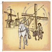 Don Quijote (Quixote) - An hand drawn vector sketch freehand c