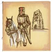 An hand drawn vector colored line art - Knight