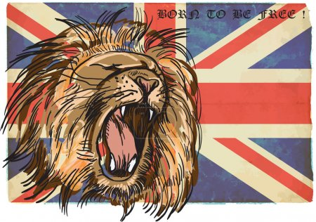 Illustration for An hand drawn retro vector illustration, colored line art.  Freehand sketch of LION head. BRITISH LION. Vintage processing. - Royalty Free Image