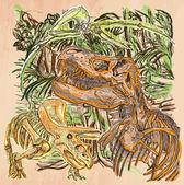 Dino Dinosaurs - An hand drawn vector Line art