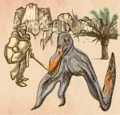 Knight and Pterosaur (Dragon) - Line art hand drawn vector