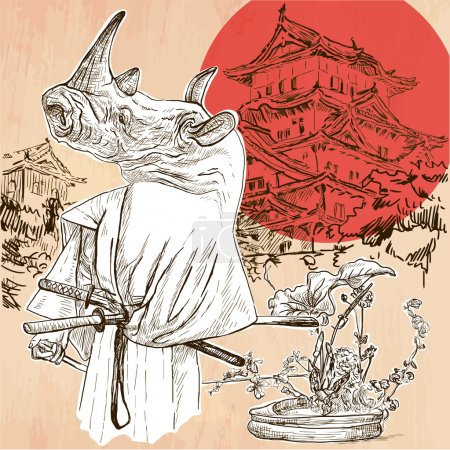 Illustration for Japan. Rhino SAMURAI in front of palace, with flowers of ikebana at his feet. Freehand sketching, line drawing. An hand drawn vector illustration. Line art technique. - Royalty Free Image