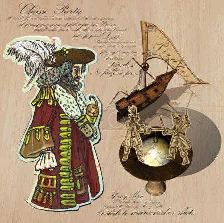 Pirates - Navigation at Sea. Hand drawn and Mixed media