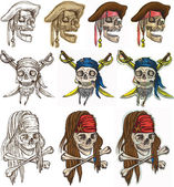 An hand drawn vector pack Topic: PIRATES - Pirate Skulls Description: Vector is editable in several layers and group of objects