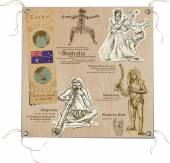 Hand drawn vectors from the series: Travels around the World - pictures of life in AUSTRALIA On the topic: Nations and Aboriginals and Art Vector is editable in groups and layers