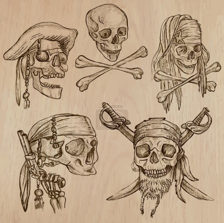 Illustration for Pirates - Skulls collection. Collection of an hand drawn illustrations. Description: Each drawing comprise of three layer of outlines, the colored background is isolated. - Royalty Free Image