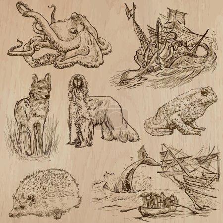 Animals around the World (part 18). Hand drawn vector pack.