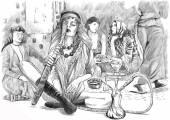Smoking Hookah (Harem) - An hand drawn vector white