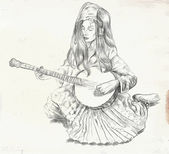 An hand drawn vector Theme: Music and Musicians BANJO PLAYER - An pretty woman tenderly plays the banjo An hand drawn converted vector Editable in layers and groups The colored background is isolated