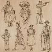 fashion between the years 1870-1970 vectors
