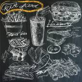 food - hand drawings on blackboard pack