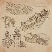 Travel LIECHTENSTEIN Collection of an hand drawn vector illustrations Sketching Background and text are isolated Easy Editable This series with focus on Winter sport - skiing and Architecture