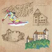 Travel LIECHTENSTEIN - An hand drawn vector pack
