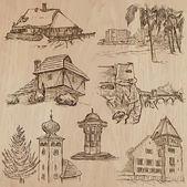 Places and ARCHITECTURE (set no41) - Collection of an hand drawn vector illustrations Each drawing comprise three layers of lines the colored background is isolated Easy editable