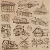 Places and ARCHITECTUREset no46 Pack of an hand drawn vector illustrations Each drawing comprise three layers of lines colored background is isolated Easy editable Focus on Folk architecture