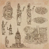 An hand drawn collection Travel - CAMBODIA Description Vector freehand sketches Editable in layers and groups Background is isolated (Things buildings etc are named inside the file)