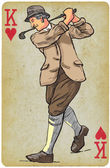 Playing Card King - Vintage Golfer an Man Freehand drawing vector Vector is easy editable in layers Background (card) is also isolated