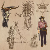 WILD WEST Collection of an hand drawn vector illustrations Freehand sketching Each drawing comprise a few layers of lines Colored background is isolated Editable in layers and groups