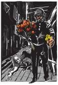 Policista s květinami, jemný hrdina - od ruky, vektorové