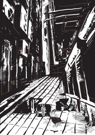 calle de la noche, ilustración vector a mano alzada