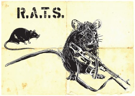rats, war, placard - freehand drawingrats, rat with gun - freehand drawing, vector