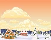 Vector winter landscape with village and trees